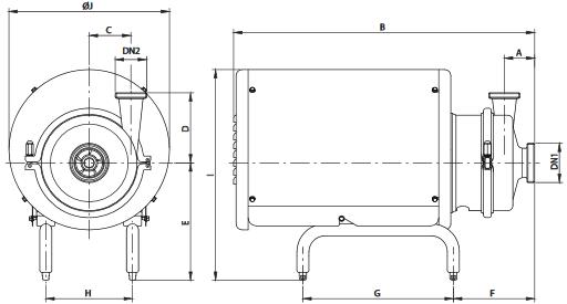 Габаритный чертеж центробежного насос Hyginox SE