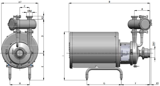 Габаритный чертеж центробежного насоса Prolac HCP SP