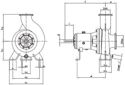 Габаритный чертеж центробежного насоса DIN-FOOD